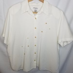 Alfred Dunner Women's White Button Down Shirt